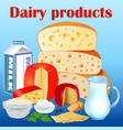 background set dairy products with cheese sour vector image vector image