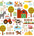 basic rgbseamless pattern with farm animals vector image vector image