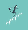 businessman running upwards on a business graph vector image
