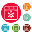 calendar winter icons circle set vector image vector image