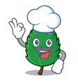 chef mint leaves character cartoon vector image vector image