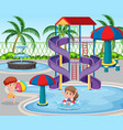 children at the water park vector image vector image