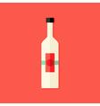 Christmas Bottle of Wine Flat Icon vector image