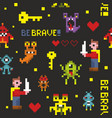 creative seamless pattern with pixel monsters and vector image