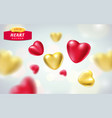 golden red realistic hearts isolated on vector image
