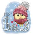 greeting christmas card with cartoon owl vector image vector image