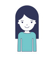 half body woman with long straight hair in blue vector image vector image