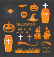 halloween icon symbol object collection set vector image vector image