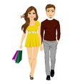 happy girl with shopping bags and her boyfriend vector image vector image
