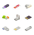 hidden data icons set isometric style vector image vector image
