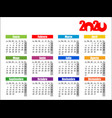 horizontal color pocket calendar on 2020 year vector image vector image