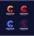 hot creative letter c logo with burn match smart vector image