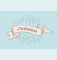 invitation old ribbon banner vector image vector image