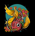 japanese goldfish with katana in mouth vector image