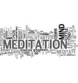learn how to meditate text background word cloud vector image vector image