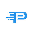 letter p fast packet data internet connection logo vector image vector image