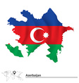 Map of Azerbaijan with flag vector image vector image