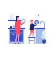 mother and son washing dishes flat vector image