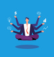 multitasking businessman manager sitting in yoga vector image