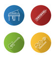 musical instruments flat linear long shadow icons vector image