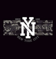new york brooklyn t-shirt design with knitted vector image vector image