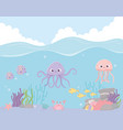 octopus jellyfish fishes crab reef coral under the vector image vector image