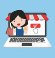 online shopping concept with girl vector image vector image