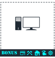 PC icon flat vector image vector image