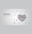 people crowd gathering in heart icon shape social vector image vector image