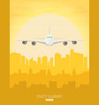 plane flying over urban city vector image vector image
