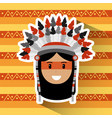 portrait native american indian character tribal vector image