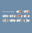 realistic poker hand ranking combination set vector image
