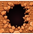 red brick wall hole vector image vector image