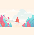 sailboat panorama with pond mountain nature scene vector image
