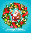 santa claus with christmas bell in wreath frame vector image vector image