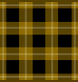 seamless black yellow tartan with white stripes vector image