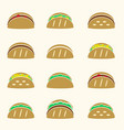 set of color tortilla tacos food icons set eps10 vector image vector image
