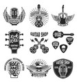 set of guitar store emblems design elements for vector image vector image