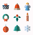 Set of modern style Christmas icons vector image