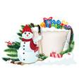 snowman on skis and christmas gifts vector image vector image