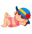 woman in bikini and sun hat relaxing vector image