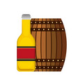 wooden barrel bottle beer isolated design vector image
