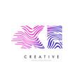 xe x e zebra lines letter logo design with vector image