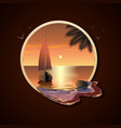 yacht with sails in the sea at sunset near a vector image vector image