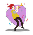 young boy playing trumpet happy love music vector image