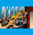 young people playing games on an internet cafe vector image vector image