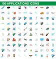 100 applications icons set cartoon style vector image