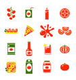 cartoon tomato products color icons set vector image
