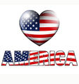AMERICA with Heart Icon vector image vector image