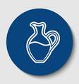 amphora sign white contour icon in dark vector image vector image